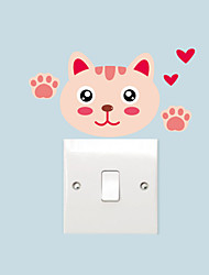 cheap -Wall Stickers Wall Decals Style Cartoon Cat Switch Waterproof Removable PVC Wall Stickers