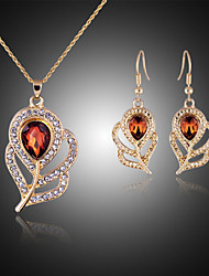 abordables -Conjunto de joyas - Zirconia Cúbica, Rosa Oro Plateado, Diamante Sintético Lujo, Fiesta Incluir Dorado Para Fiesta / Cumpleaños / Pedida / Pendientes / Collare