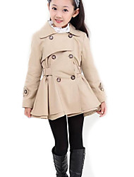 cheap -Girls' Solid Trench Coat,Polyester Spring Fall Long Sleeve Pink Khaki