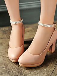 povoljno -Žene Cipele Umjetna koža Proljeće Ljeto Jesen Kockasta potpetica Platformske cipele za Ured i karijera Formalne prilike Obala Crn Pink