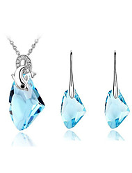 Jewelry Set Shining Crystal Ocean Dolphin Pendant Necklace Earring(Assorted Color)
