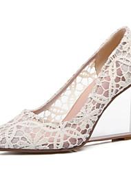 abordables -Mujer Zapatos Cuero Primavera Verano Otoño Tacón Cuña Tacón de cristal Para Vestido Fiesta y Noche Negro Beige Rojo