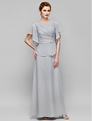 cheap -Sheath / Column Bateau Neck Floor Length Chiffon Mother of the Bride Dress with Crystal Detailing Side Draping by LAN TING BRIDE®