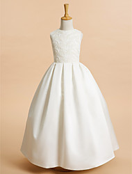 A-Line Ankle Length Flower Girl Dress - Lace Satin Sleeveless Jewel Neck with Lace by LAN TING BRIDE®
