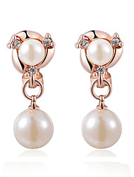 T&C Women's Simulated Pearl beads Rose Gold Plated Clip Earrings Fashion Crystal Vintage Jewelry
