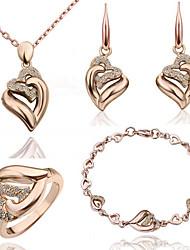 abordables -Mujer Cristal Conjunto de joyas - Cristal Corazón Incluir Plata / Dorado Para Boda / Fiesta / Cumpleaños / Anillos / Pendientes / Collare / Pulsera