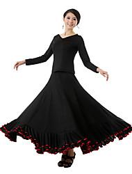 cheap -Ballroom Dance Outfits Women's Performance Milk Fiber Draping Top Skirt