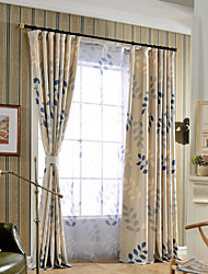 cheap -Grommet Top Double Pleat One Panel Curtain Modern , Print Bedroom Linen / Cotton Blend Material Curtains Drapes Home Decoration