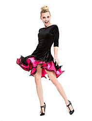 Balli latino-americani Abiti/Gonne Per donna Da esibizione Velluto Viscosa Ruches 1 pezzo Mezza Manica Vestiti 90
