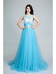 A-Line Scoop Neck Sweep / Brush Train Tulle Formal Evening Dress with Beading Appliques by SGSD