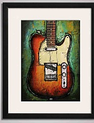 cheap -Black Frame Abstract Guitar Painting Canvas Print Art for Wall Decoration  40x50cm Ready To Hang