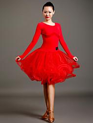 お買い得  -ラテンダンス ドレス 女性用 性能 チュール / ベルベット ドレープ 長袖 ナチュラルウエスト ドレス