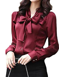 cheap -Women's Work Basic Shirt - Solid Colored Bow V Neck
