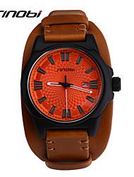 cheap -SINOBI Men's Sport Watch Wrist watch Quartz Calendar / date / day Water Resistant / Water Proof Sport Watch Leather Band Brown