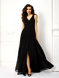 A-Line Princess V-neck Straps Floor Length Chiffon Formal Evening Military Ball Dress with Beading Criss Cross by TS Couture®