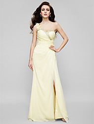 Sheath / Column One Shoulder Sweetheart Floor Length Chiffon Prom Dress with Beading by TS Couture®