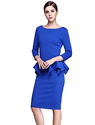 Dámské Vintage / Sofistikované Běžné/Denní / Velké velikosti Bodycon Šaty Jednobarevné,Tříčtvrteční rukáv Kulatý Délka ke kolenům Modrá