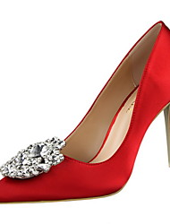 cheap -Women's Shoes Silk Fleece Spring Summer Basic Pump Novelty Heels Stiletto Heel Pointed Toe Rhinestone For Party & Evening Dress Blushing
