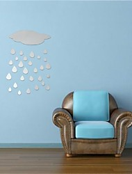 cheap -Beautiful Design DIY 3D Cloud Rain Drop Acrylic Mirror Stickers Wall Decor Home Decals Art Durable