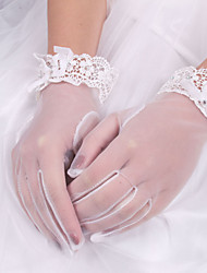 cheap -Silk Cotton Elastic Satin Wrist Length Glove Charm Stylish Bridal Gloves With Embroidery Solid