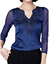 cheap -Women's Plus Size T-shirt - Solid Colored V Neck / Spring / Embroidery