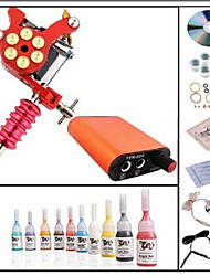 cheap -Starter Tattoo Kit 1 alloy machine liner & shader Tattoo Machine Mini power supply 10 × 5ml Tattoo Ink 1 x aluminum grip