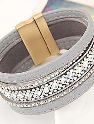 New Fashion Charm Women Leather Shiny Metal Multilayer Magnetic Width Bangle Bracelet