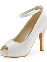 cheap -Women's Spring / Summer / Fall Heels / Peep Toe Stretch Satin Wedding / Dress / Party & Evening Stiletto Heel Buckle Ivory