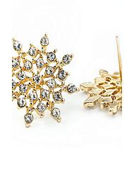 Pendientes cortos Plata de ley Oro La imitación de diamante Moda Dorado Blanco Joyas 2 piezas