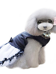 cheap -Dog Dress Dog Clothes Crystal/Rhinestone Black Cotton Costume For Pets Women's Fashion