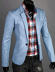 cheap -Men's Plus Size Cotton Slim Blazer - Solid Colored