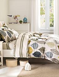 cheap -Leaves Cotton Sheet Set 100% Cotton 500TC Comforter Case Bedsheet Pillow Sham 4pcs Bedding Sets
