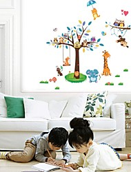 cheap -Cute Wise Owls Tree Wall Stickers For Kids Room Decorations Nursery Cartoon Children Decals  Animals Mural Arts Flowers