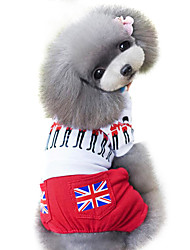 cheap -Dog Jumpsuit Dog Clothes National Flag British Red Cotton Costume For Pets Men's Women's Fashion