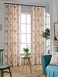 cheap -Rod Pocket Grommet Top Double Pleat Pencil Pleat Two Panels Curtain Country , Print Bedroom Linen/Polyester Blend Material Blackout