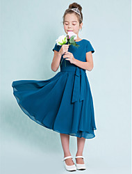 A-Line Jewel Neck Tea Length Chiffon Junior Bridesmaid Dress with Buttons by LAN TING BRIDE®