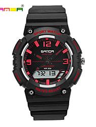 SANDA Homens Mulheres Relógio Esportivo Relógio de Pulso Digital LCD Cronógrafo Impermeável Dois Fusos Horários Relógio Esportivo PU Banda