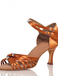 cheap -Women's Dance Shoes Latin / Jazz / Swing Shoes / Salsa / Samba Satin Heel Brown Customizable