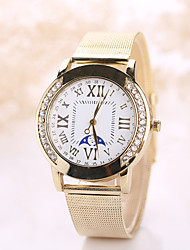 Women's Vintate Watch White Case Steel Gold Band Watch Imitation Diamond Casual Wrist Watch Jewelry for Wedding Party Strap Watch