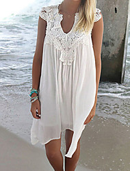 cheap -Women's Halter One-pieces / Cover-Ups , Tassels / Solid One-Pieces Chiffon / Lace White