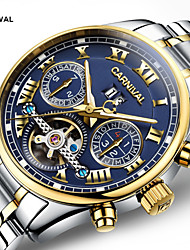 cheap -Carnival Men's Skeleton Watch Hollow Engraving Stainless Steel Band Luxury White / Gold / Automatic self-winding