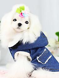 Недорогие -Собака Плащи Джинсовые куртки Одежда для собак Джинсы Синий Хлопок Костюм Назначение Весна & осень Зима Муж. Жен. Сохраняет тепло Мода