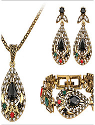cheap -Jewelry Set - Cubic Zirconia Vintage, Party, Link / Chain Include Gold For Party Special Occasion Anniversary / Earrings / Necklace