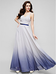 A-linje Gulvlang Chiffon Skolebal Formel aften Kjole med Kryds & Tværs ved TS Couture®
