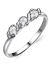 HKTC 18K White Gold Plated 0.25ct * 3 Pieces Zirconia Diamond Ladies Jewellery RingsImitation Diamond Birthstone