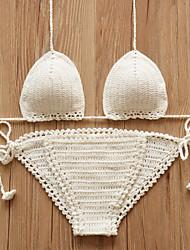 povoljno -Žene Kukičane pletenice Na vezanje oko vrata Háromszög Bikini - Jednobojni, Cheeky gaćice