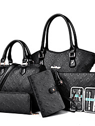 cheap -Women's Bags PU Tote / Satchel / Clutch 6 Pieces Purse Set White / Black / Blue