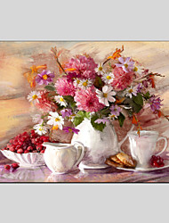 cheap -Flower Style Canvas Material Oil Paintings with Stretched Frame Ready To Hang Size 60*90CM