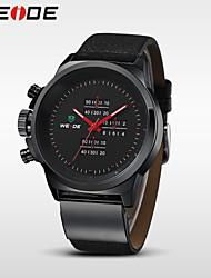 WEIDE Pánské Náramkové hodinky Křemenný Japonské Quartz Voděodolné Kůže Kapela Černá Černá Stříbrná Červená