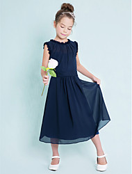 Sheath / Column Jewel Neck Tea Length Chiffon Junior Bridesmaid Dress with Sash / Ribbon Pleats by LAN TING BRIDE®